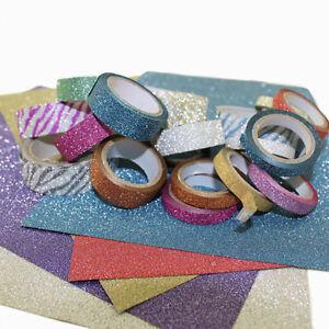 Skinny Mini Thin Rainbow Assorted Multi-Color Glitter Washi Tape 10 Pack 6MM DIY