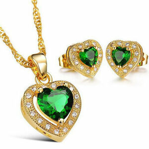 Heart-Green-Crystal-Necklace-Earrings-Set-Love-18K-Yellow-Gold-Filled-Jewelry