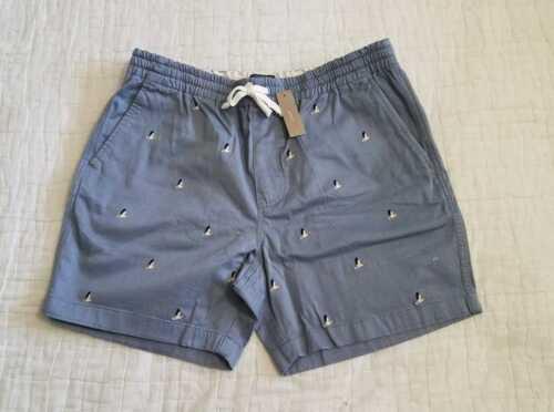 Nouveau Homme XS S M L XL XXL J Crew Dock Shorts Avec Taille Élastique PELICAN Imprimer Bleu