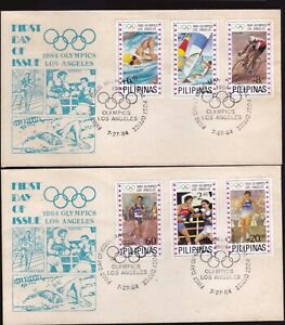 1984 Philippines Los Angeles Olympic Games 6 values set on 2 FDC