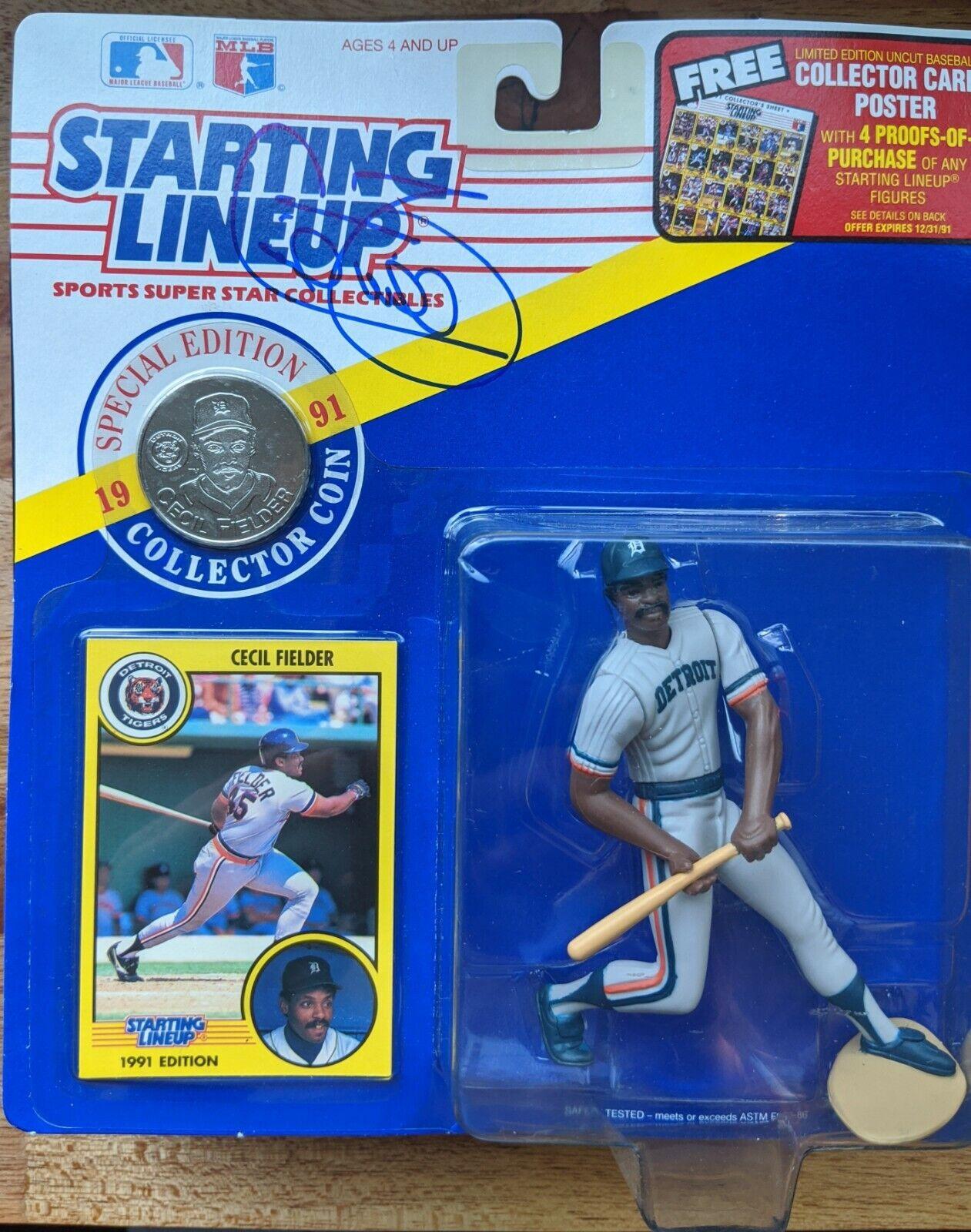 AUTOGRAFATO  Cecil Fielder estrellating Lineup 1991 Detroit Tigers con monete