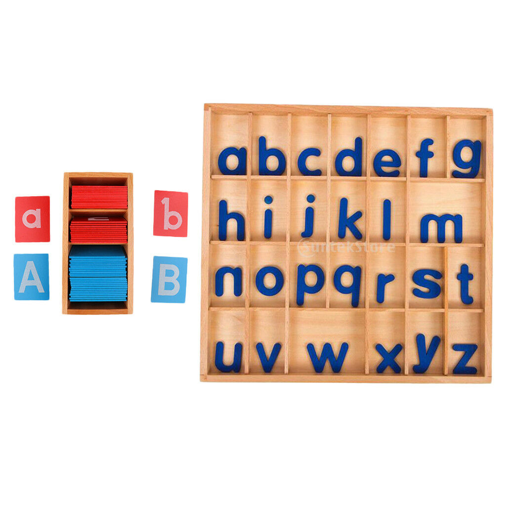 Montessori Materials Wood Toy a-z Movable Letter Box+Sand Alphabet Card Box