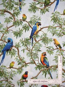 Parrot-Jungle-Tropical-Rainforest-Birds-Cotton-Fabric-Fabriquilt-Inc-By-The-Yard