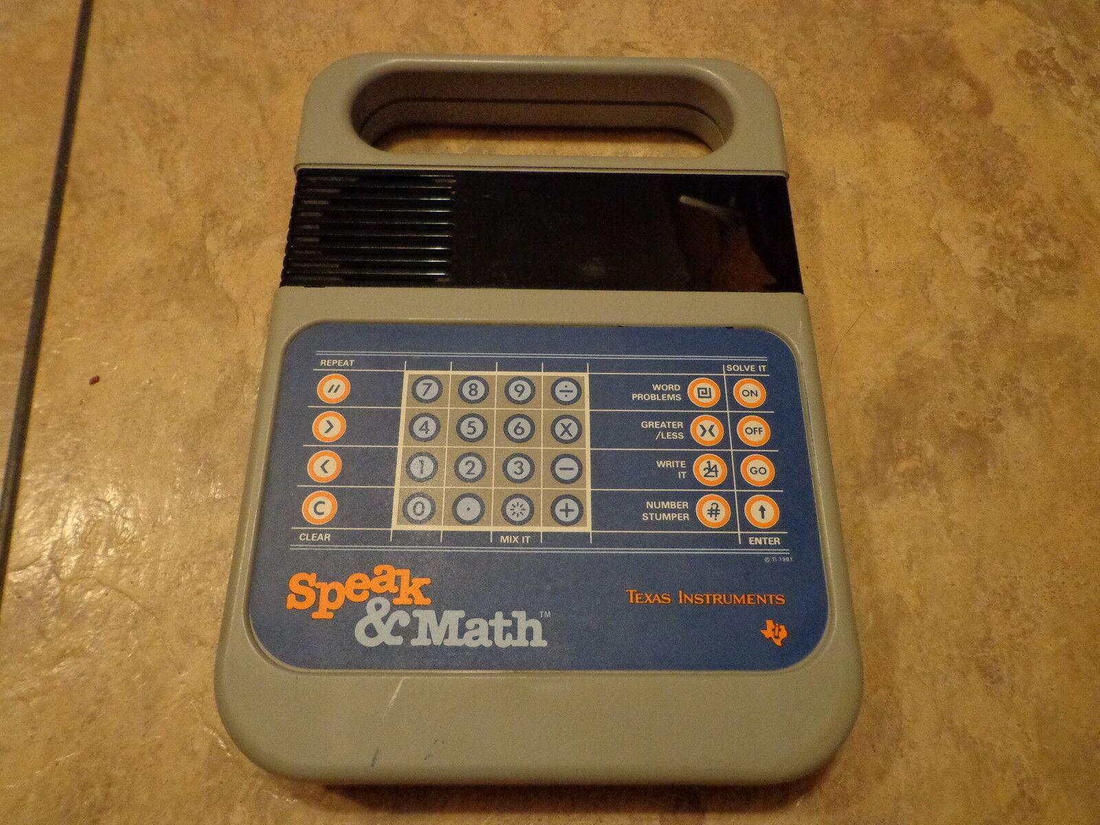 OLD TEXAS INSTRUMENTS--ELECTRONIC SPEAK & MATH MATH MATH (LOOK) 1d014d