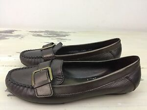 COLE-HAAN-Womens-Bronze-Leather-Buckle-Slip-on-Flat-Moccasin-Boat-Shoes-7-5-B