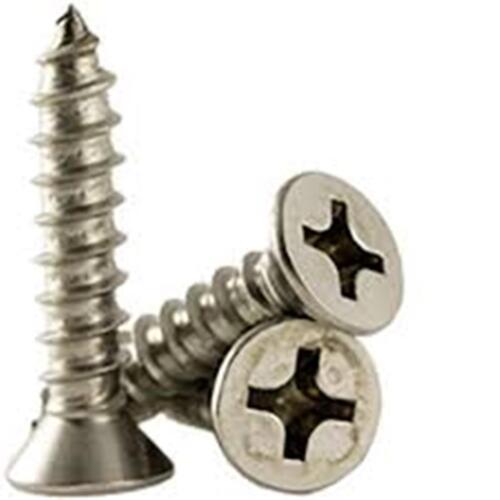 "Stainless Steel Flat Head Phillips Sheet Metal Screws #6 X 1-1//2/"" Qty-50"