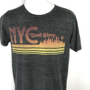 Mens-T-Shirt-Small-Retro-NYC-Gray-Hipster-Short-Sleeve-Streetwear-Graphic-Tee-S
