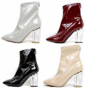 7e2e1d77279 Shirleen-28 Patent Block Clear Lucite Perspex Heel Ankle Boot Bootie ...