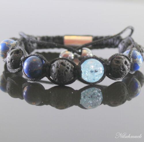 Lava Rock Blue  Shamballa Armband Armreifen Bracelet Biker Mode Perlenarmband