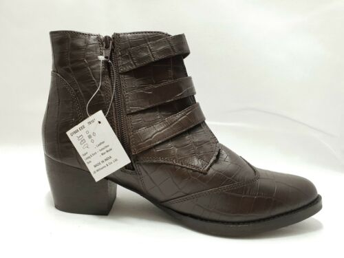 Sole Diva Brown Leather Buckle Boots Size UK 6 EEE