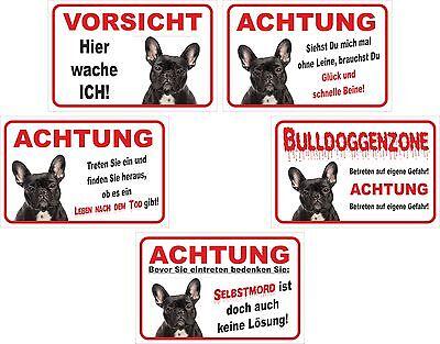 Schild Vorsicht Französische Bulldogge Schwarz - Versch. Texte 15x20 O. 20x30cm