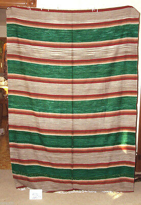 Mexican Serape Blanket Throw 5'x7' Lightweight Vintage Green Style #22