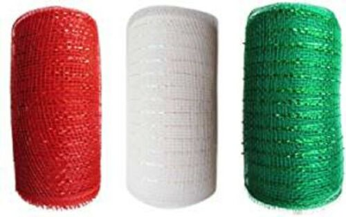 "3 Pack Christmas Mesh Rolls 6/"" x 5/' Free Ship!! 3 Rolls, Red White Green"