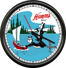 Hamm's Hamms Beer Bear Bar Tavern Fishing Boat Game Room Sign Wall Clock