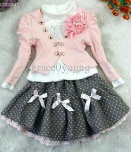 Caricamento dell immagine in corso ragazze-3-pezzo-vestito-rosa-bianco- giacca-gonna- caffdb4341c