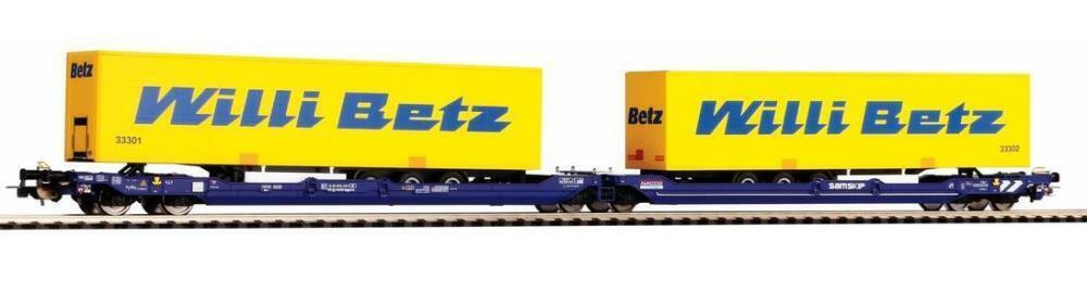 Piko 58955 Taschenwagen T3000e Nacco mit 2  Willi Betz  Trailern