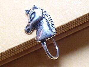 Horse-039-s-Portrait-Ear-Cuff-Nose-Clip-On-925-Sterling-Silver-Dangle-Corona-Sun
