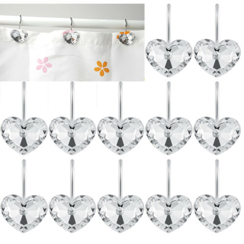 12 Piece Set Clear Crystal Bling Shower Curtain Hooks Rings for Bathroom