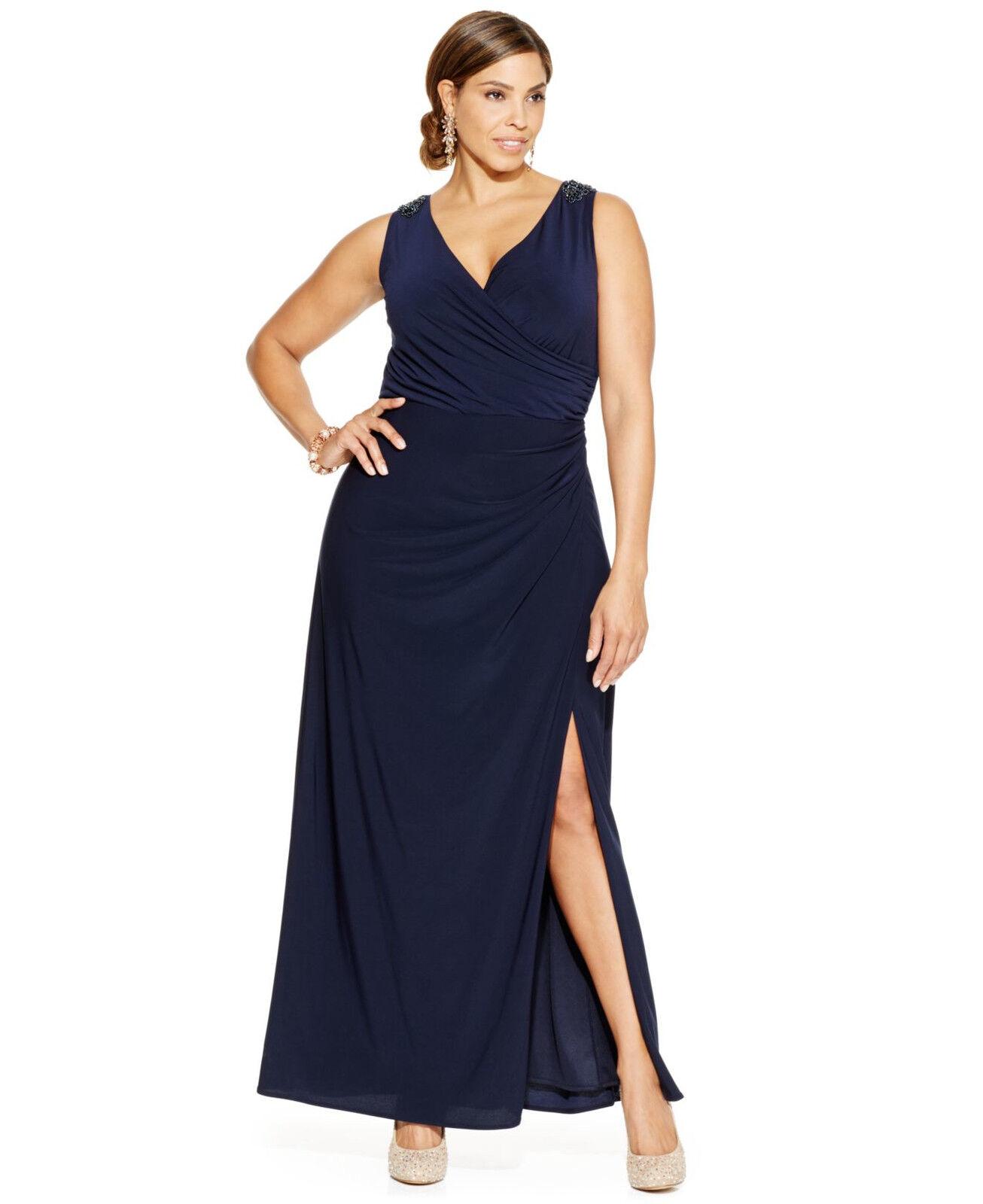 Patra Womens Dress 16W bluee Side Slit Embellished Sleeveless Gown Navy Plus Size