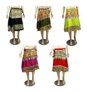5pcs-100pcs-Printed-Hippie-Gypsy-Women-039-s-Short-Wrap-Around-Skirts-Wholesale-Lot