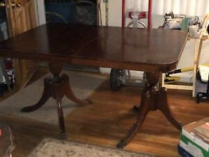 Vintage-Solid-Cherry-Oak-Dining-Room-Table