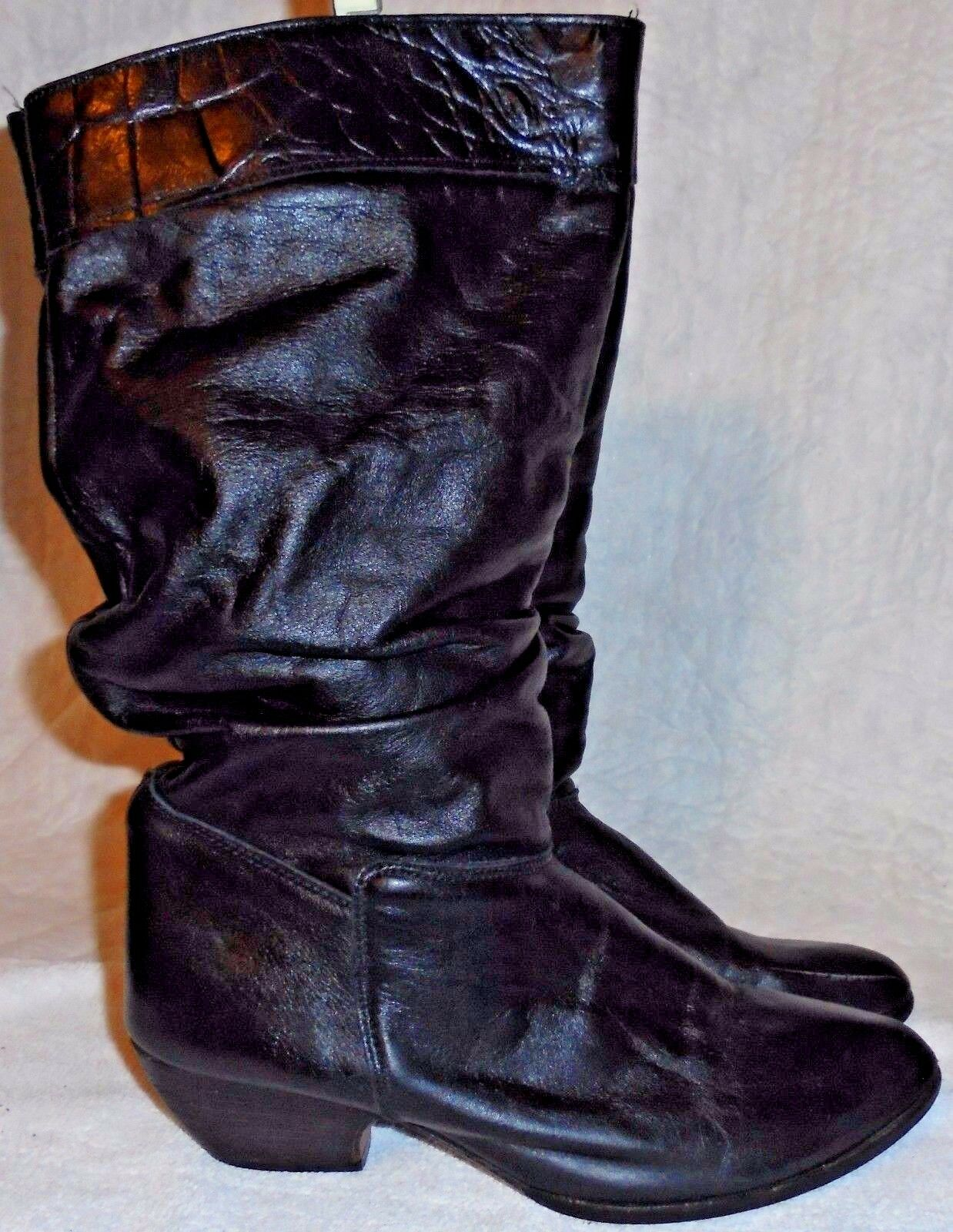 ACME, LADIES BLACK LEATHER SLOUCH MID CALF PULL ON BOOT, SIZE  6 1/2 M