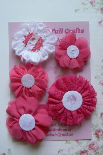 RUBY PINK /& WHITE Lace Organza Fabric 5 Flower Pack 50-70mm Njoyfull Crafts Z1