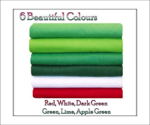 Green//Red Shades 12 squares  30cm x 25cm ECO Friendly Viscose Felt Squares