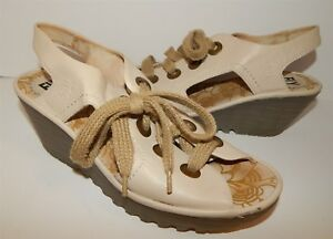 Fly-London-Ylva-Beige-Leather-Open-Toe-Lace-Up-Wedges-39-8-5-M