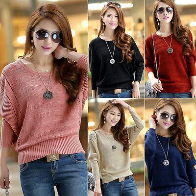 Korean Women Casual Loose Batwing Long Sleeve Knitted Cardigan Sweaters Sweater