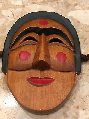 Vintage Smile Traditional Women Korean Tribal Ritual Wood Carved Face Mask 9 Ebay
