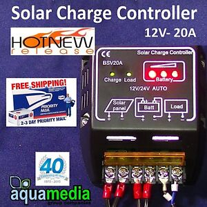 Charge Controller for Battery Solar Panel 12v-20A  NEW! Security Light etc