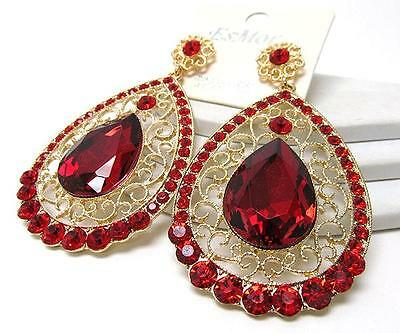 Teardrop Dangle Post Earrings with Golden Filigree Red or Clear Crystals