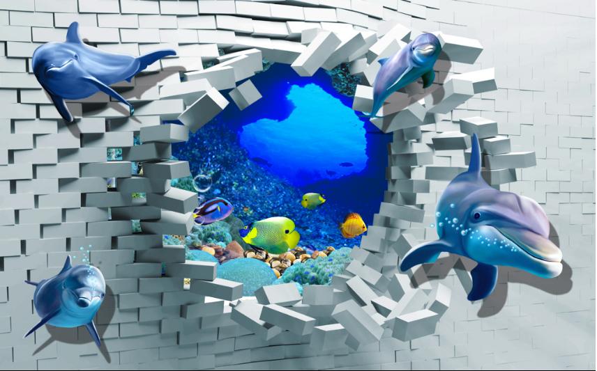 3D Ziegelstein Höhle Delfin 86 Tapete Tapete Tapete Wandgemälde Tapete Tapeten Bild Familie DE | Verschiedene  b776e8