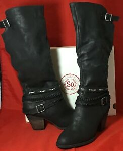 Tall Calf Buckle Zipper Boots