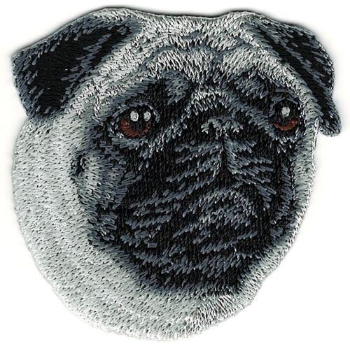 5.7cm X 6.3cm Mops Hund Rasse Bild Stickereien Patch