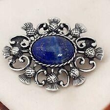 Vintage Style Blue Lapis Lazuli Gemstone Pewter Celtic Scottish Thistle Brooch