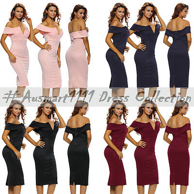 Size 8 to 14 Off Shoulder Midi V Neckline Casual Summer Cocktail Dress Clubwear