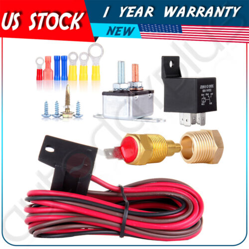 Car 185-200 Degree Engine Cooling Fan Thermostat Temp Switch Sensor Relay Kit