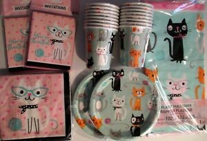 Purr Fect Kitty Cat Birthday Party Supply Set Pack Kit W