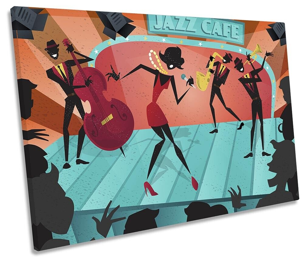 Jazz Café Music Bild SINGLE CANVAS Wand Kunst Drucken Multi-Colourot
