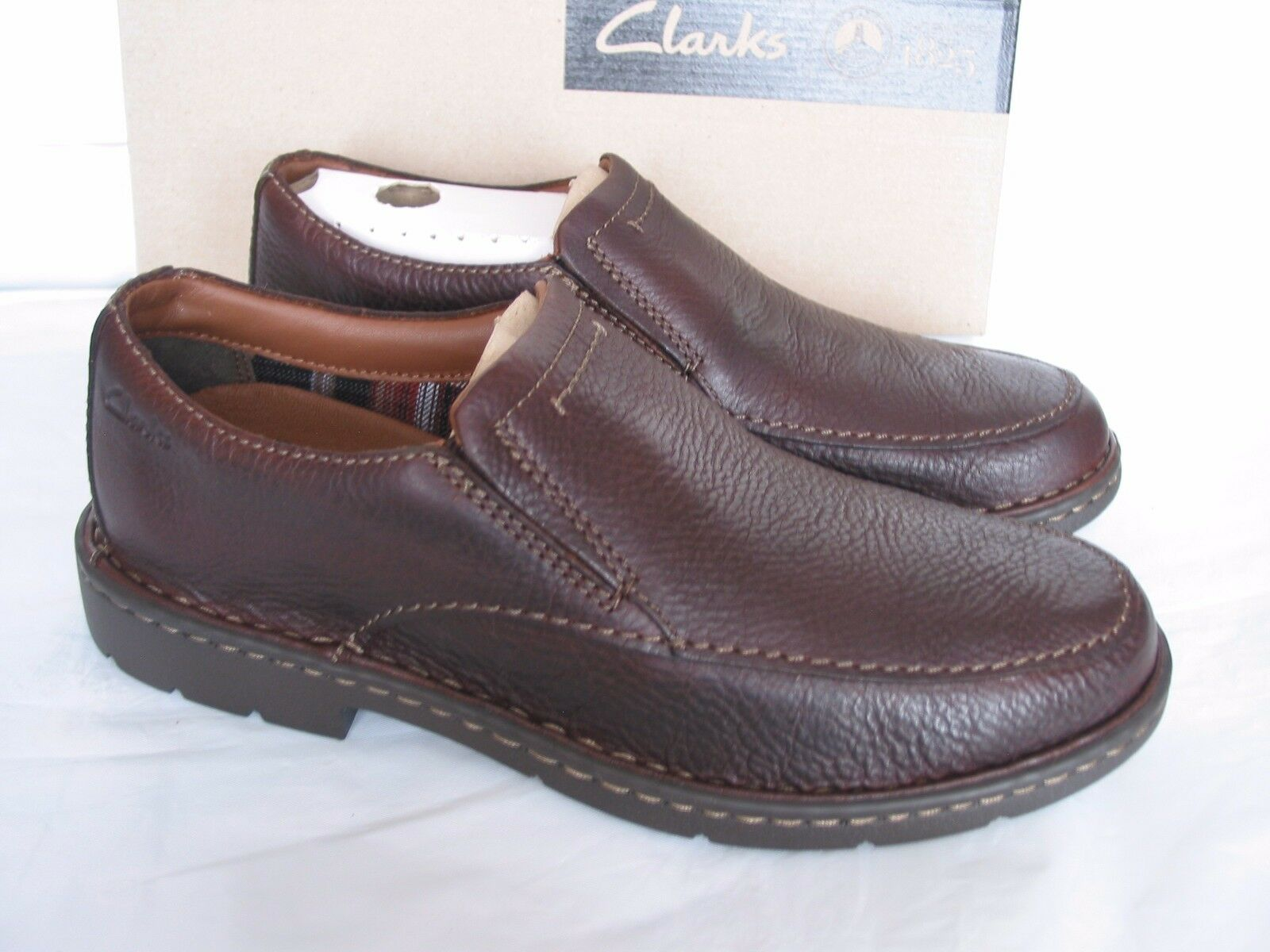NEW CLARKS STRATTON EASY BROWN LEATHER SHOES SIZE 7 G FIT