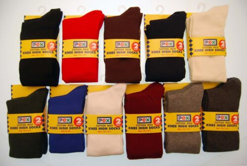 "TWO PACKS OF PEX RED /""Graduate/"" Cotton Rich Knee High School Socks."