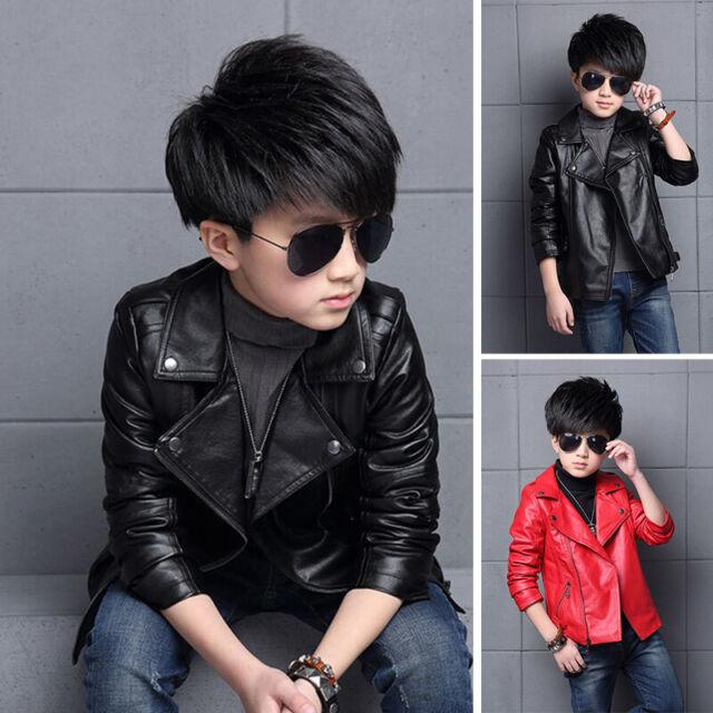 Kids Boys PU Leather Jacket Punk Biker Motorcycle Zip Up Coat Outerwear 3-9T