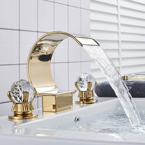 "8/"" Widespread Bathroom Sink Faucet 3 Hole Waterfall Vanity Basin Mixer 2 Handle"