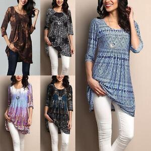 Women-Cotton-Summer-Gypsy-Baggy-Tunic-Top-Shirt-Long-Sleeve-Blouse-Plus-Size-Lot