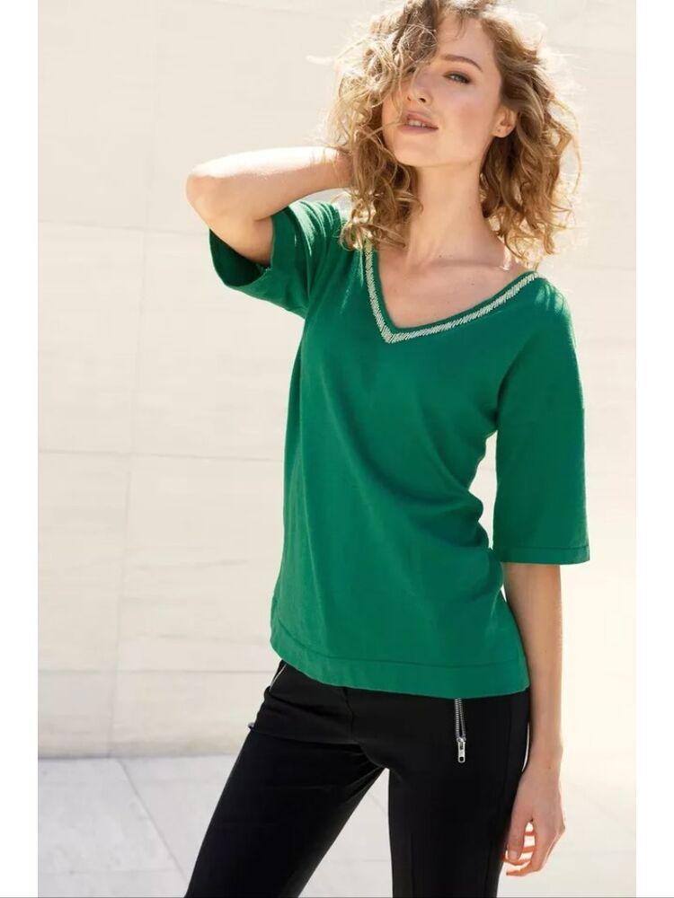 Neuf Prochain Vert Taille 10 Embelli Col V Femme Pull Top Soirée Jour