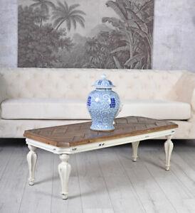 Details zu Wohnzimmertisch im Landhausstil Couchtisch Holz & Metall  Beistelltisch Vintage