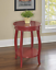 wooden red table round shelf contemporary accent bedside living studio hallway d