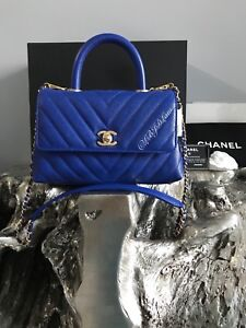 e91d8ecd0181 NWT CHANEL Blue Coco Handle Bag Chevron Caviar Small Mini Gold 2018 ...